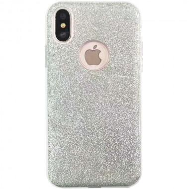 Силиконовый серебряный чехол Shine для iPhone Xs Max