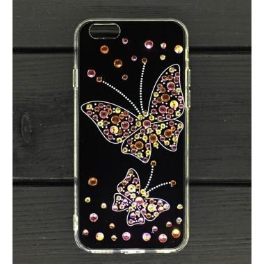 Силиконовый чехол Бабочка Swarowski для iPhone 6/6s