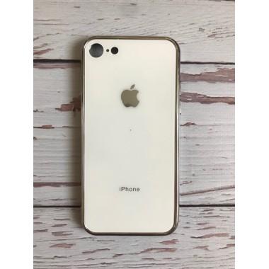Стеклянный стеклянный белый чехол для iPhone 7 и 8