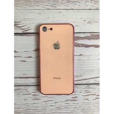 Стеклянный стеклянный золотой чехол для iPhone 7 и 8
