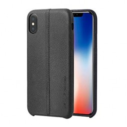 Кожаный черный чехол Usams Joe для iPhone X и Xs