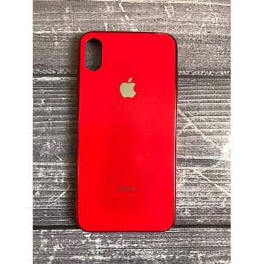 Силиконовый красный стеклянный чехол для iPhone Xs Max