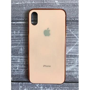Силиконовый золотой стеклянный чехол для iPhone Xs Max