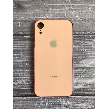 Силиконовый розовый стеклянный чехол для iPhone Xr