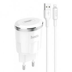 Сетевое зарядное устройство HOCO Thunder Power Charger 1USB/2,4A + Lightning кабель