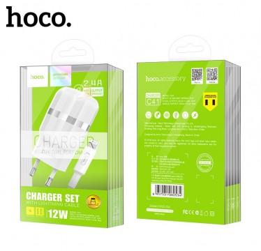 Сетевое зарядное устройство HOCO C41A Wisdom 2USB/2,4A + Lightning кабель