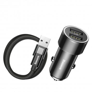 Автомобильное зарядное устройство Baseus Small Screw 2USB, 3.4A с Type-C кабелем