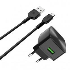 Сетевое зарядное устройство Hoco C70A Cutting-edge Type-C  QC3.0 + Type-C кабель