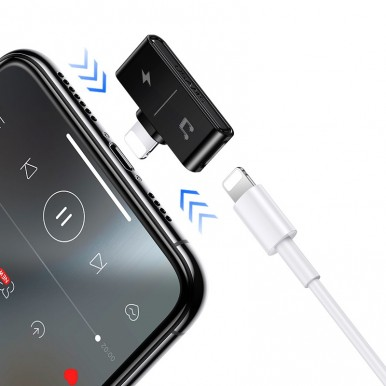 Переходник USAMS Dual Lightning Charging& Audio Adapter