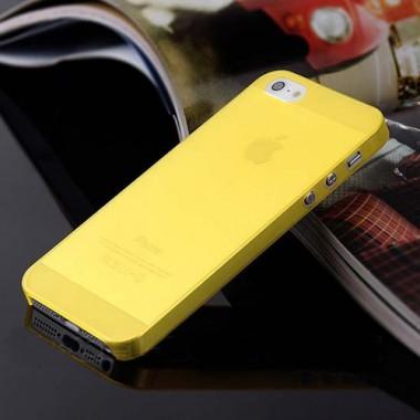 """Ультратонкий желтый чехол """"0.2mm"""" для 5/5s/SE"""