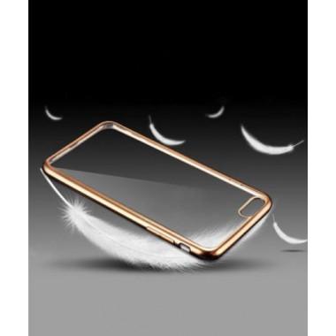 Силиконовый прозрачный чехол с золотым бампером для iPhone 5/5s/SE