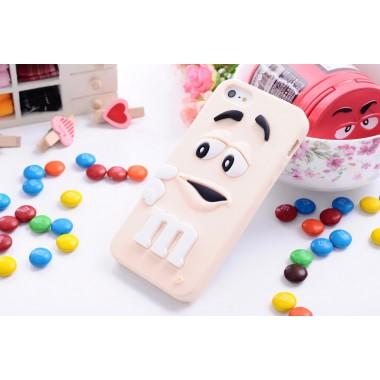 """Резиновый 3D чехол """"M&M"""" розовый для iPhone 4/4s"""