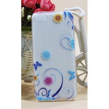 """Силиконовый чехол """"Blue curls"""" для iPhone 5/5s/SE"""