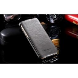 "Кожаный темно-серый чехол флип ""FLOVEME"" для iPhone 5/5s/SE"