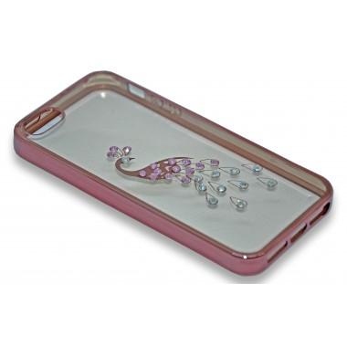 """Силиконовый розово-золотой чехол """"Павлин"""" со стразами для iPhone 6+/6s+"""