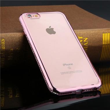 Силиконовый чехол с розово-золотым бампером и стразами для iPhone 5/5s/SE