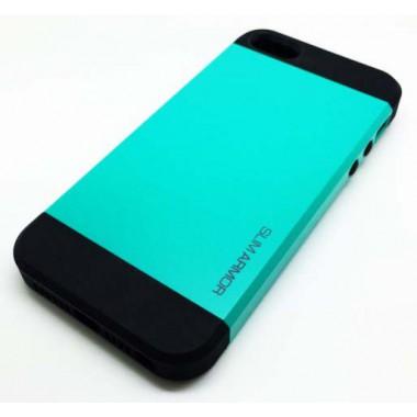 """Антиударный чехол """"Spigen"""" Slim Armor бирюзовый для iPhone 5/5S"""
