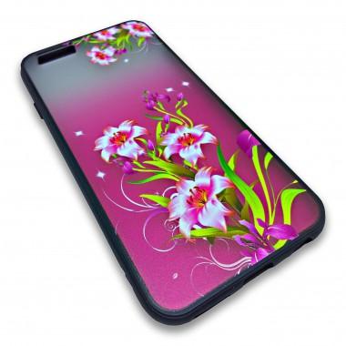 Пластиковый чехол с силиконовым бампером Remax цветочный узор красный для iPhone 6/6s