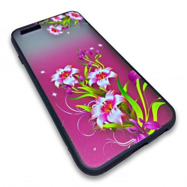 Пластиковый чехол с силиконовым бампером Remax цветочный узор красный для iPhone 5/5s/SE