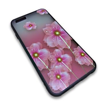 Пластиковый чехол с силиконовым бампером Remax цветочный узор розовый для iPhone 5/5s/SE