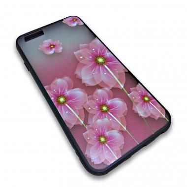 Пластиковый чехол с силиконовым бампером Remax цветочный узор розовый для iPhone 7 Plus