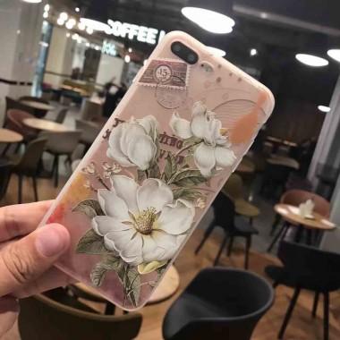 Силиконовый чехол White flowers для iPhone 6/6s