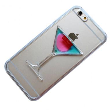 """Пластиковый розово-синий чехол """"Бокал"""" c жидкостью для iPhone 6+/6s+"""