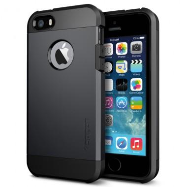 """Антиударный чехол """"Spigen"""" черный для iPhone 5/5s/SE"""