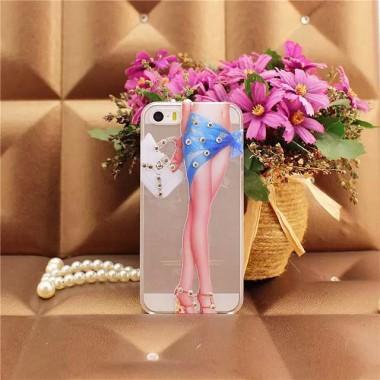 """Силиконовый чехол со стразами """"Длинные ноги"""" для iPhone 5/5s/SE"""