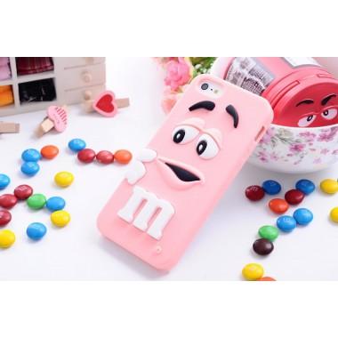 """Резиновый 3D чехол """"M&M"""" розовый для iPhone 5/5s/SE"""