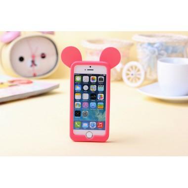 """Резиновый 3D бампер """"Микки Маус ушки"""" ярко-розовый для 5/5s/SE"""