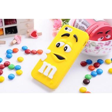 """Резиновый 3D чехол """"M&M"""" желтый для iPhone 5/5s/SE"""