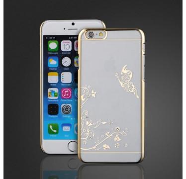 """Пластиковый чехол со стразами """"Бабочка"""" золотой для iPhone 6/6s"""