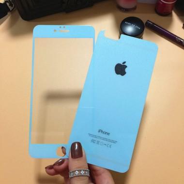 Комплект бирюзовых защитных стекол для iPhone 5/5s/SE
