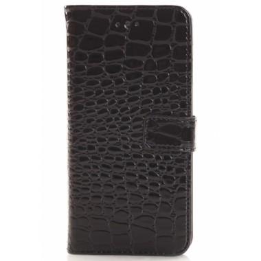 Кожаный черный чехол-книжка Crocodile для iPhone 6/6s