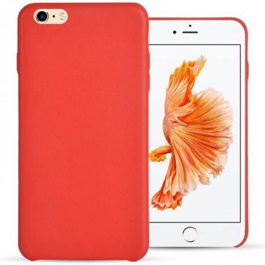 Тонкий красный кожаный чехол для iPhone 6/6s