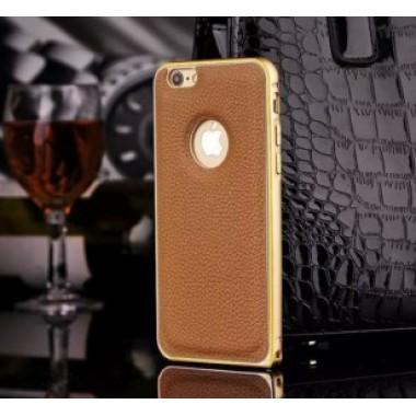 Металлический бампер с кожаной вставкой для iPhone 6/6s