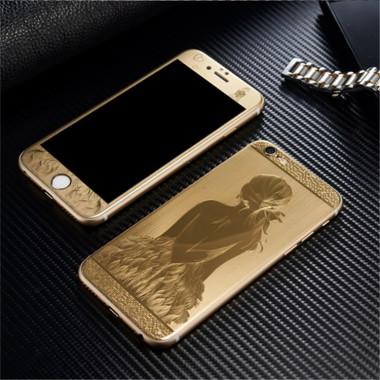 """Комплект золотых защитных стекол с силиконовыми краями """"Девушка"""" для iPhone 6+/6s+"""