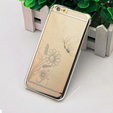 Пластиковый серебряный чехол Бабочка для iPhone 6+/6s+