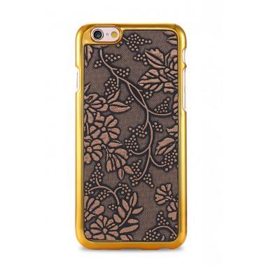 """Золотой пластиковый чехол """"Цветы"""" для iPhone 6/6s"""