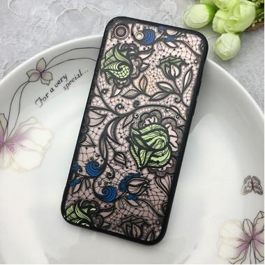 """Пластиковый чехол с силиконовым бампером """"Розы кружева"""" для  iPhone 6/6s"""