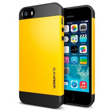 """Антиударный чехол """"Spigen"""" Slim Armor желтый для iPhone 5/5S"""