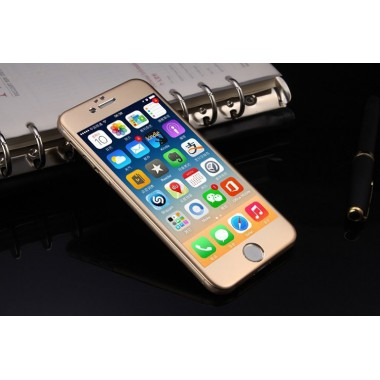 Защитное золотое 3D стекло с алюминиевыми краями для iPhone 6/6s