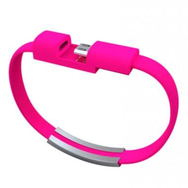 Розовый кабель-браслет Micro USB