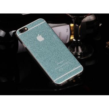 Бирюзовый силиконовый чехол с блестками для iPhone 6/6s