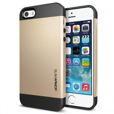 """Антиударный чехол """"Spigen"""" Slim Armor зотой для iPhone 5/5s/SE"""