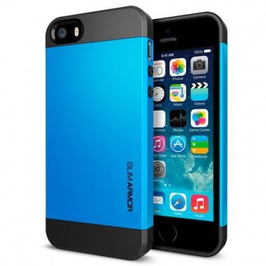 """Антиударный чехол """"Spigen"""" Slim Armor синий для iPhone 5/5s/SE"""