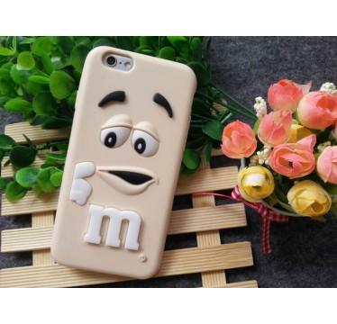 """Резиновый 3D чехол """"M&M"""" бежевый для iPhone 6/6s"""