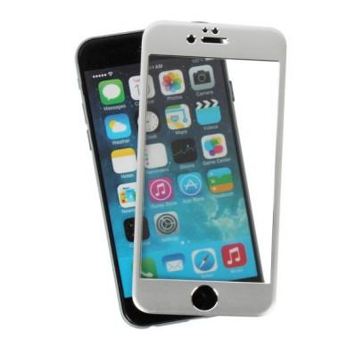 Защитное серебряное 3D стекло с алюминиевыми краями для iPhone 6/6s