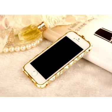 Бело-золотой металлический бампер со стразами для iPhone 6/6s